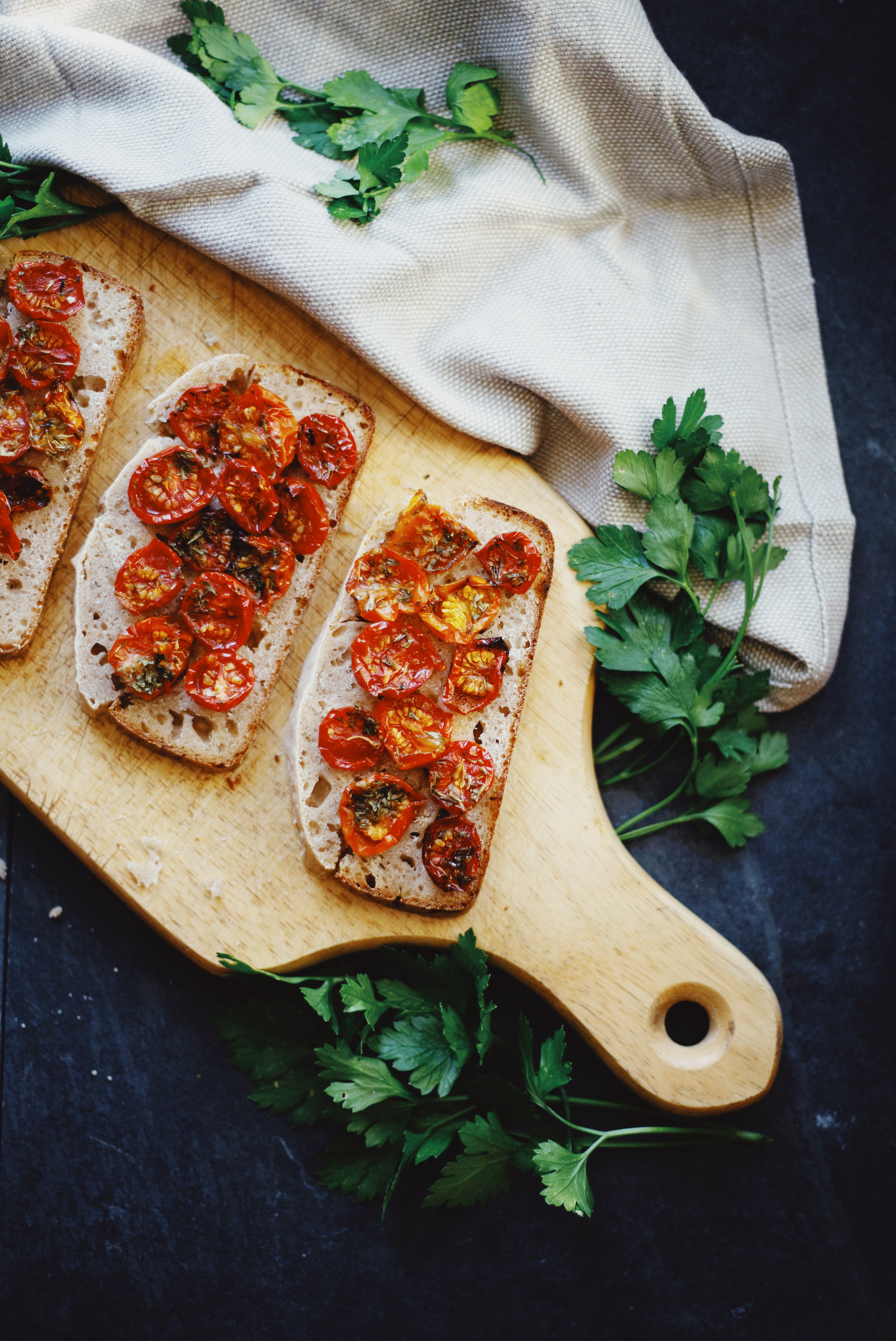 Roasted cherry tomatoes on sourdough bread recipe