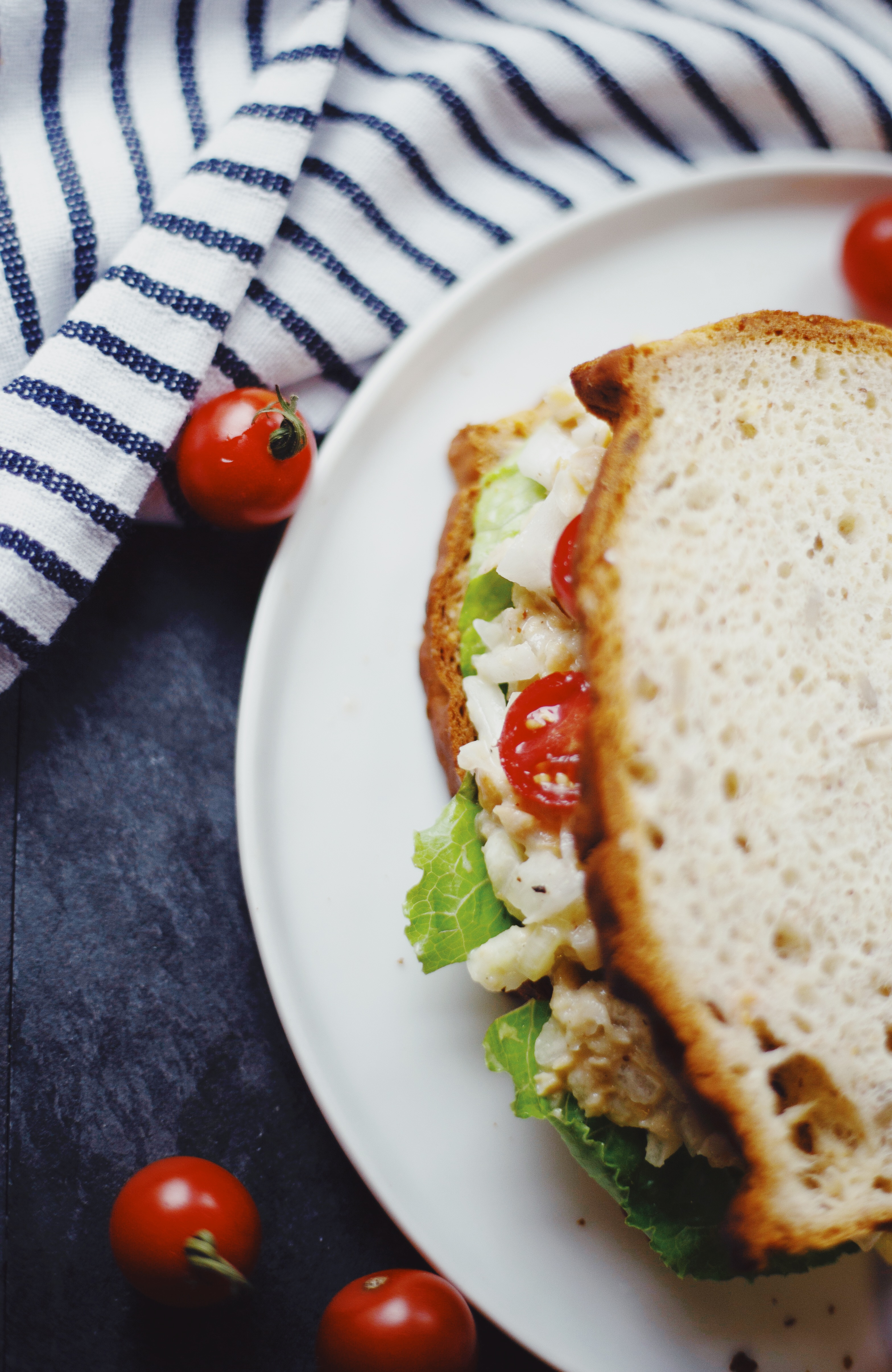 Gluten Free and Vegan Chickpea Salad Sandwich with tomatoes and lettuce
