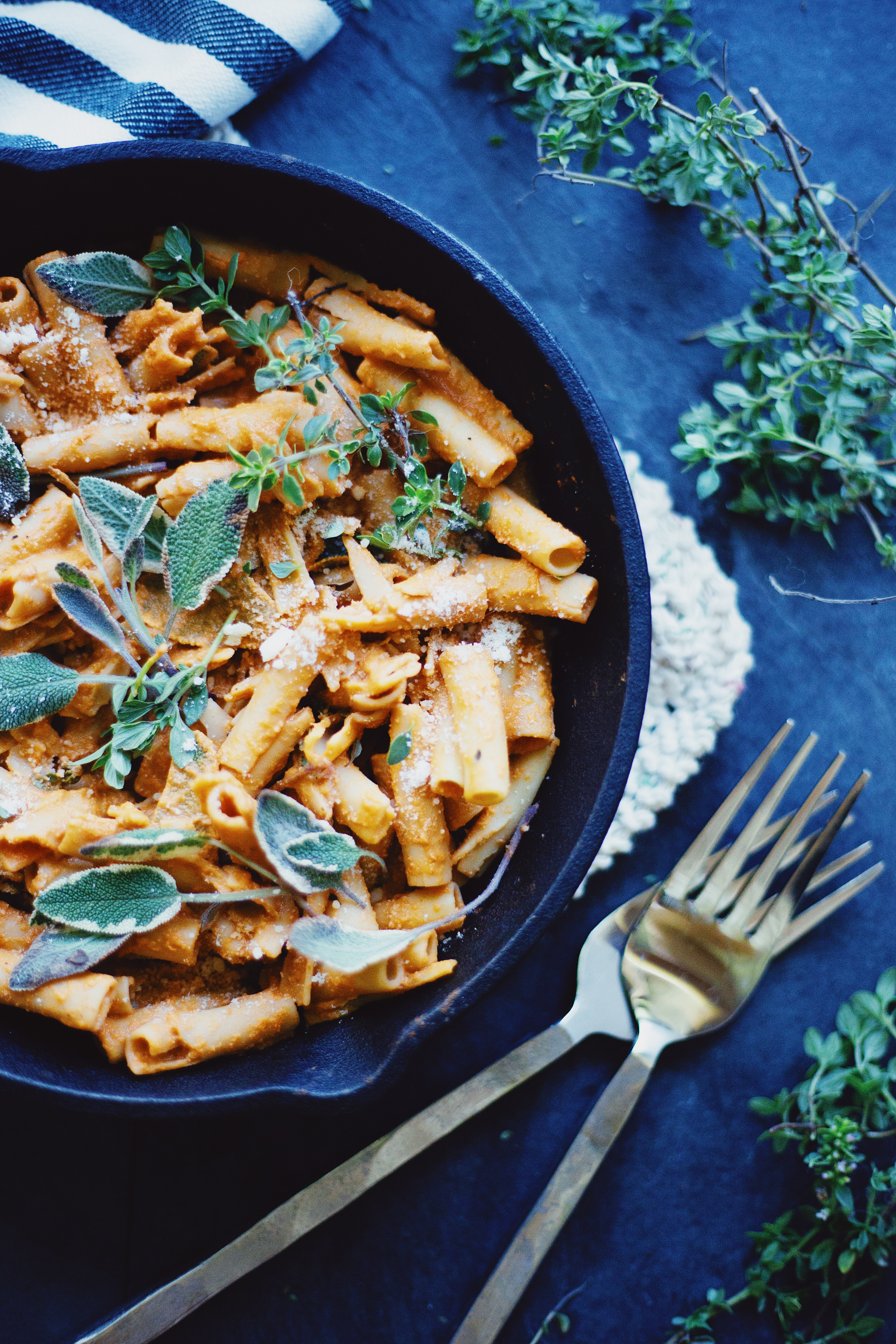 Vegan pasta recipe with roasted red pepper sauce.