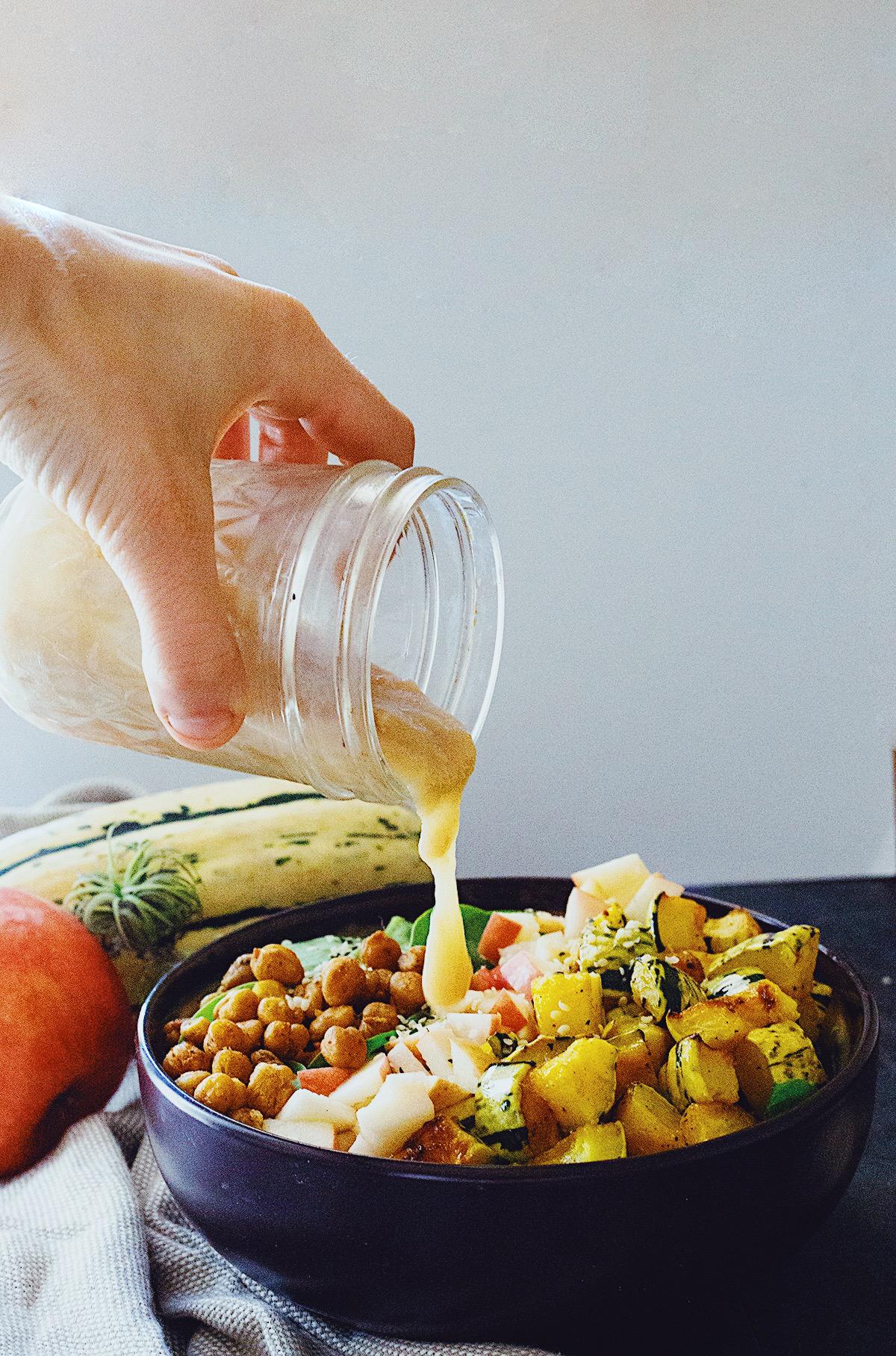 Healthy autumn salad recipe with maple tahini dressing