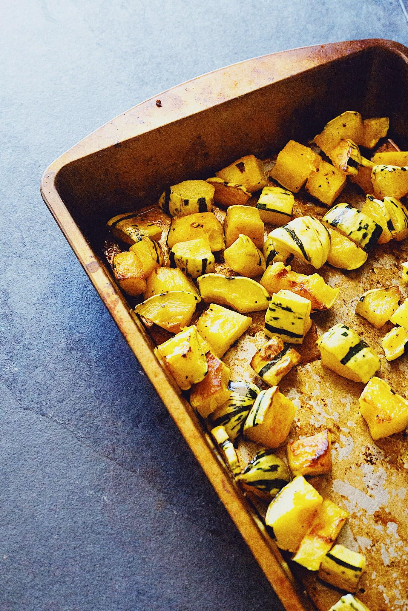 Simple roasted delicata squash for harvest salad recipe