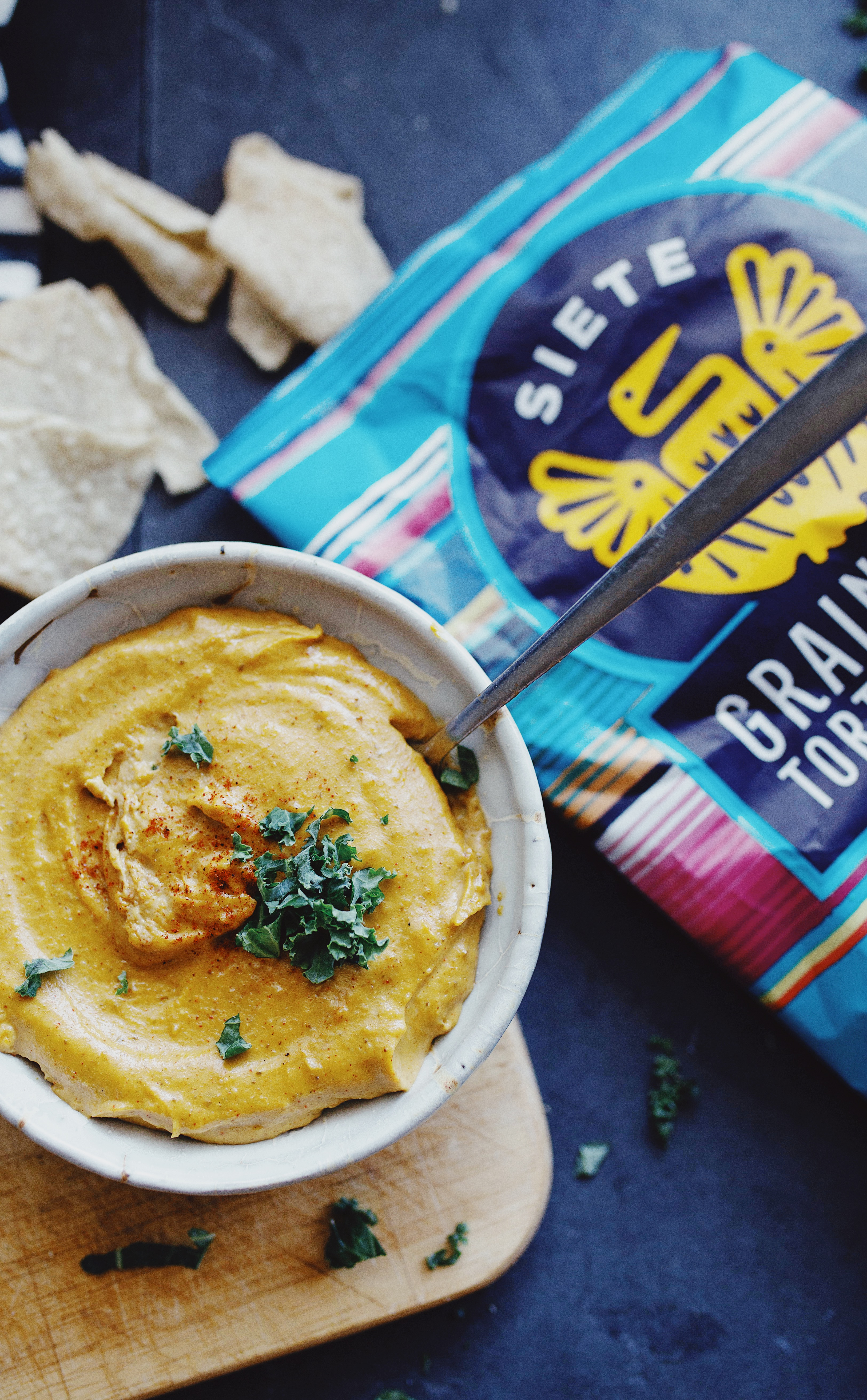 Siete Foods chips and easy vegan queso
