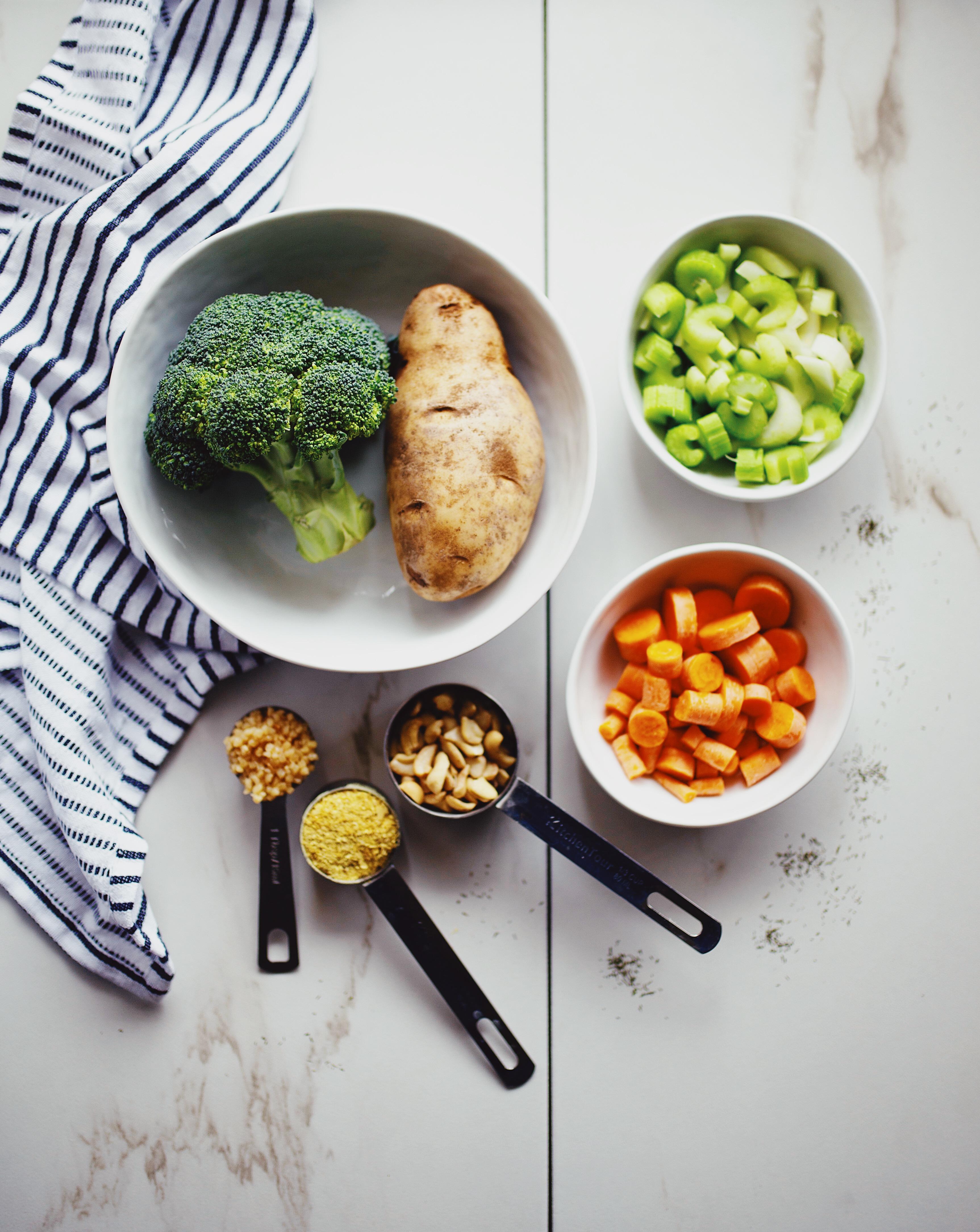 Ingredients for vegan broccoli cheddar soup