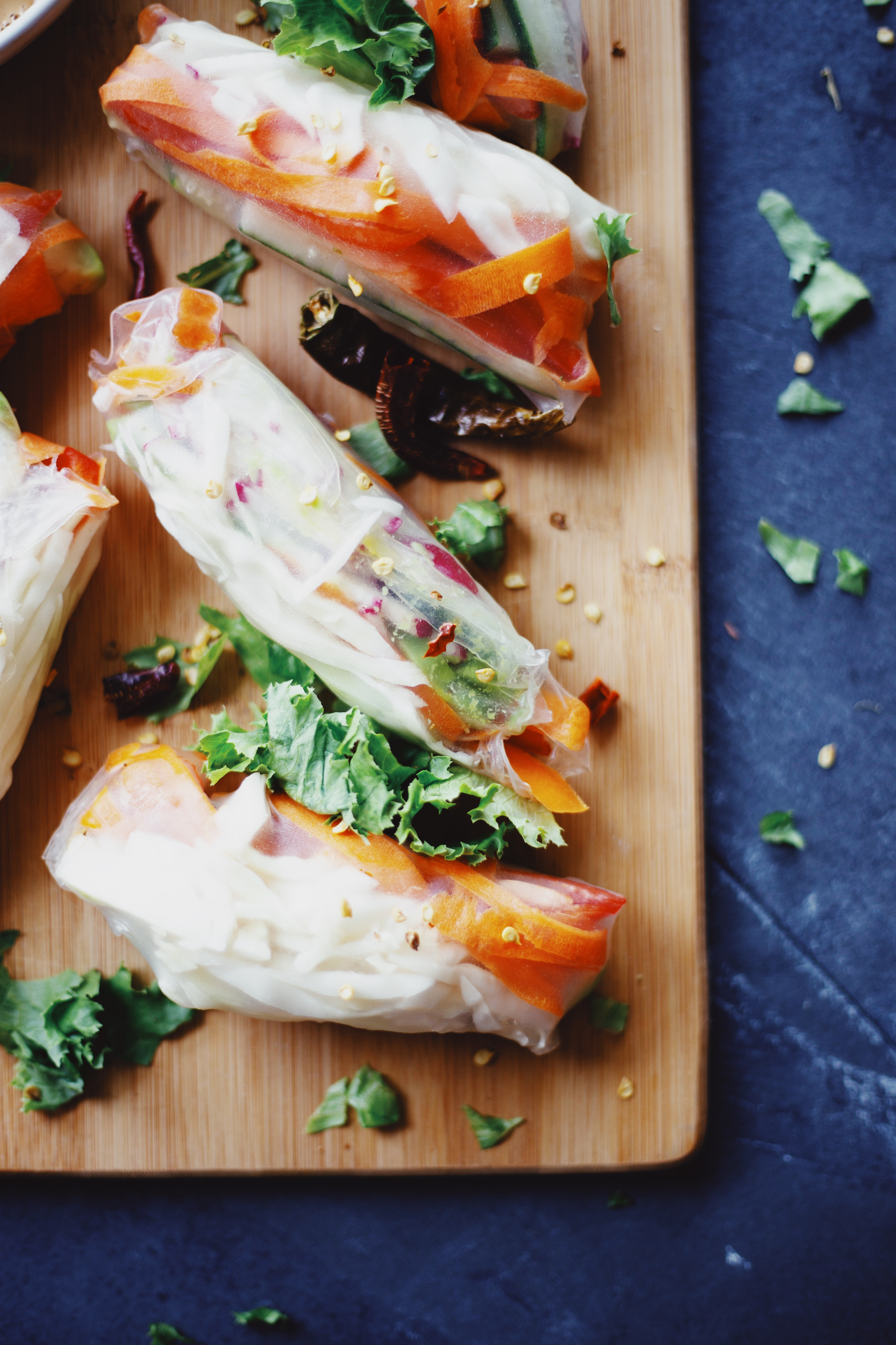 Colorful Spring Rolls with Peanut Sauce gluten free and vegan