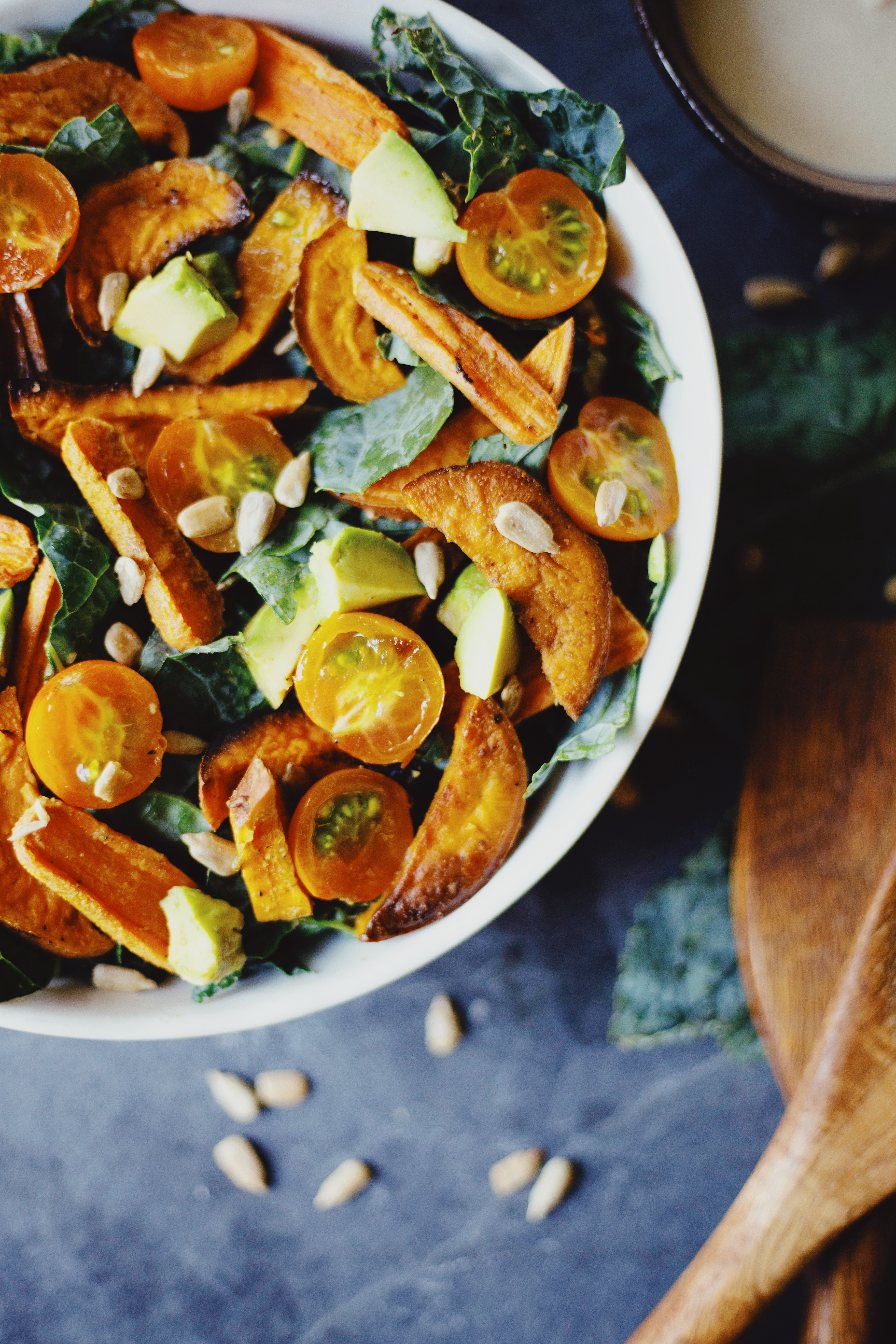 Late Summer Salad with Tahini Dressing Recipe by Local Sprout. Healthy vegan and gluten free salad recipe by The Local Sprout