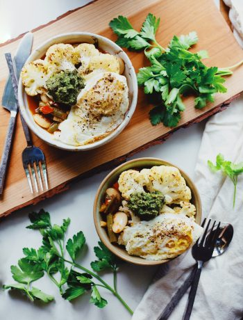 Butter Bean Stew with Cauliflower Steaks recipe. Easy gluten free and vegan dinner