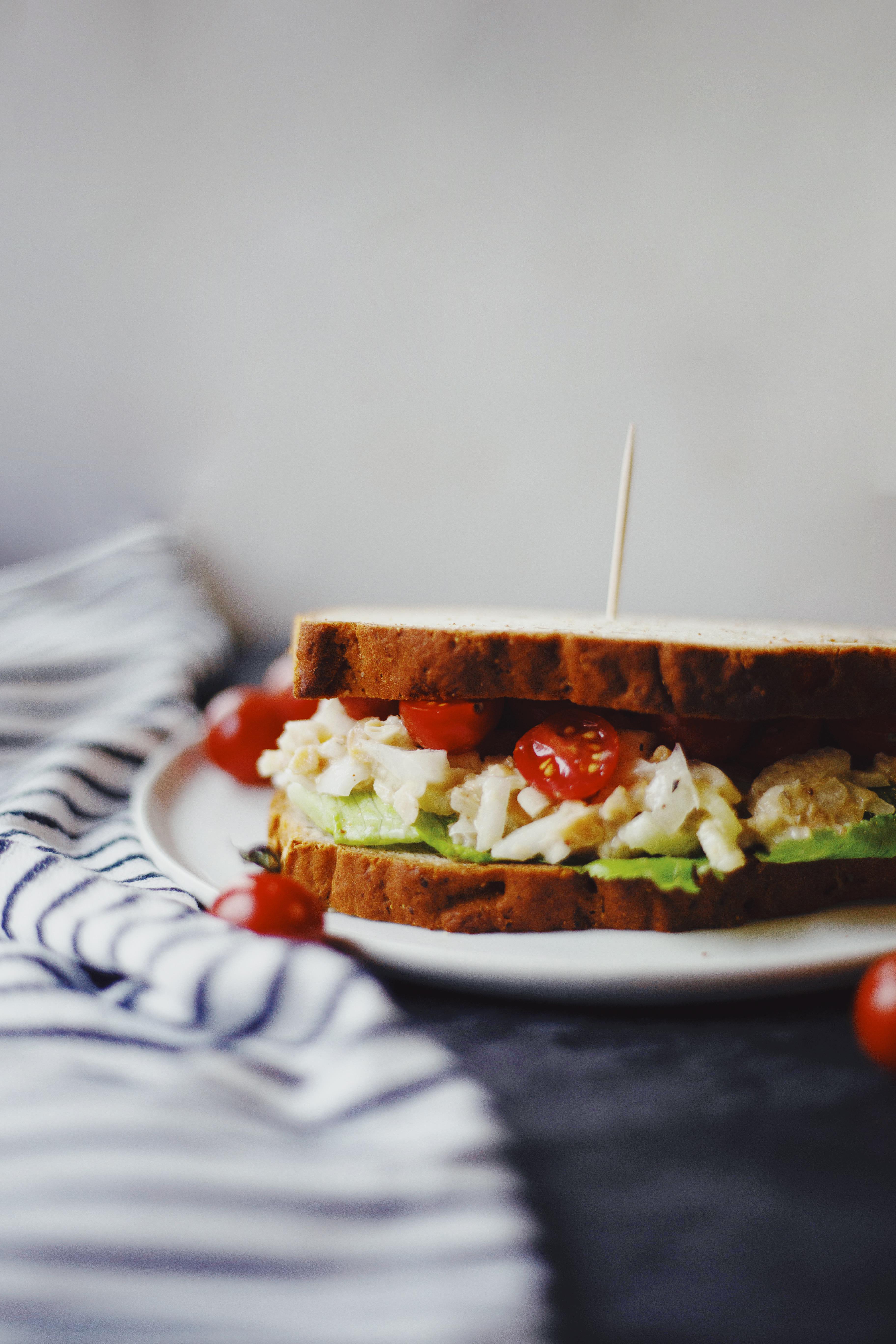Chickpea salad sandwich on gluten free bread