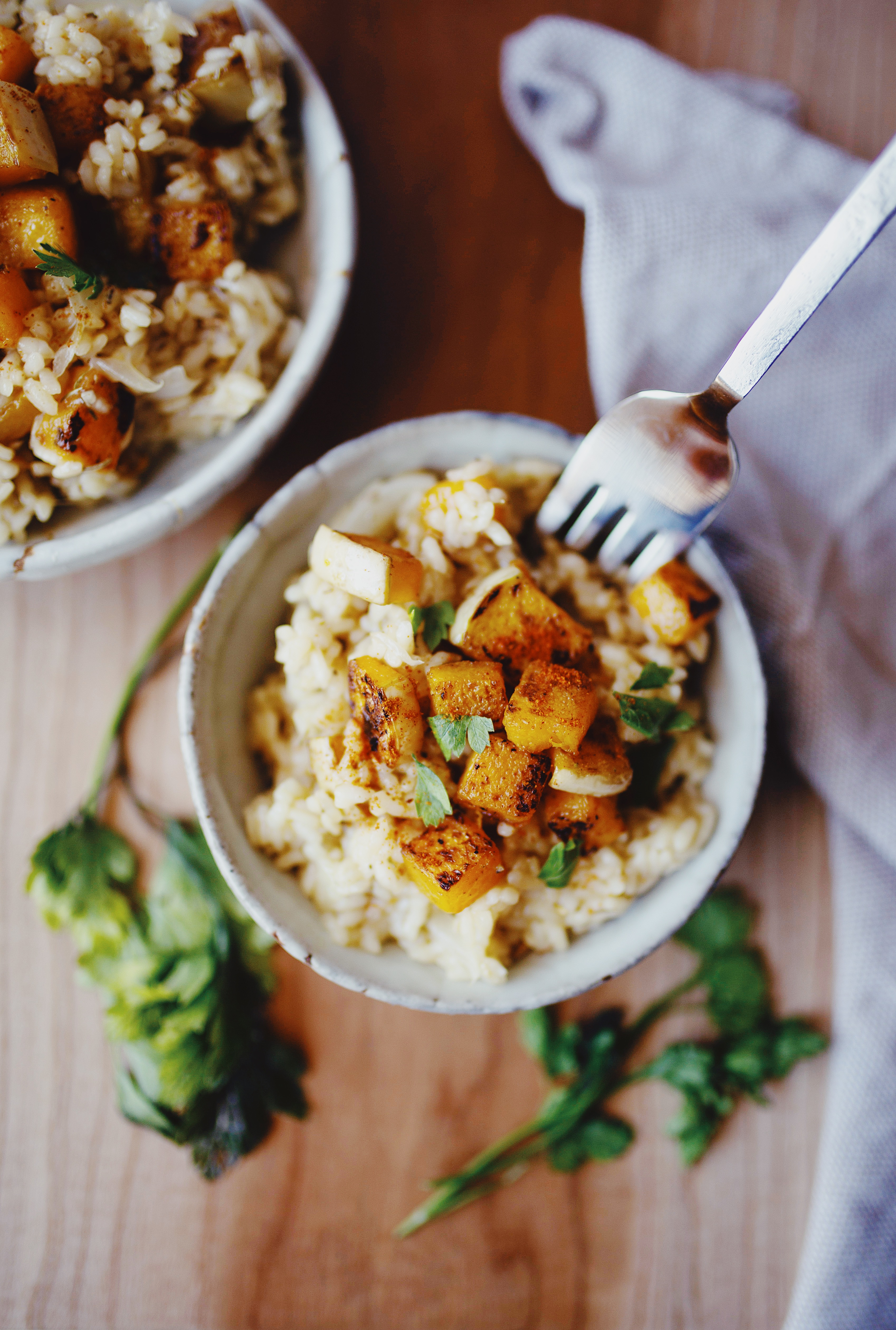 Vegan and gluten free butternut squash risotto recipe