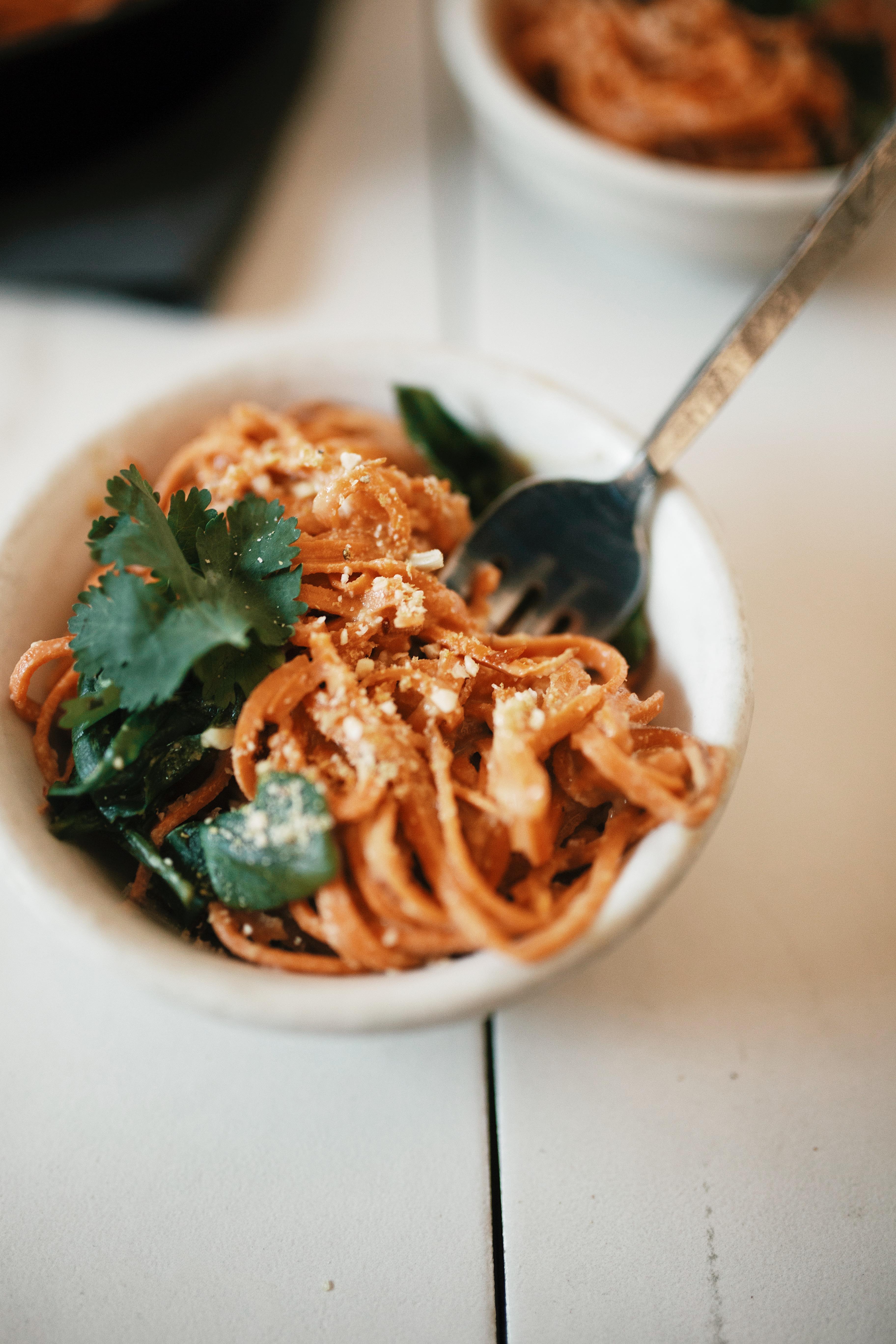 sweet potato noodles with vegan alfredo