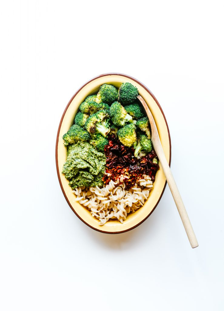 Vegan and GF Roasted Broccoli Pesto Pasta Salad