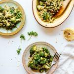 Roasted Broccoli Pesto Pasta Salad Recipe (GF + V)