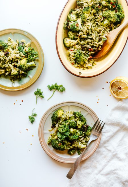 Roasted Broccoli Pesto Pasta Salad Recipe (GF + V)